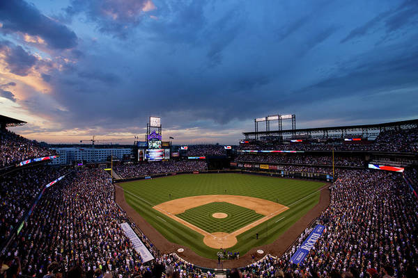 National League Baseball Art Print featuring the photograph Los Angeles Dodgers V Colorado Rockies by Justin Edmonds