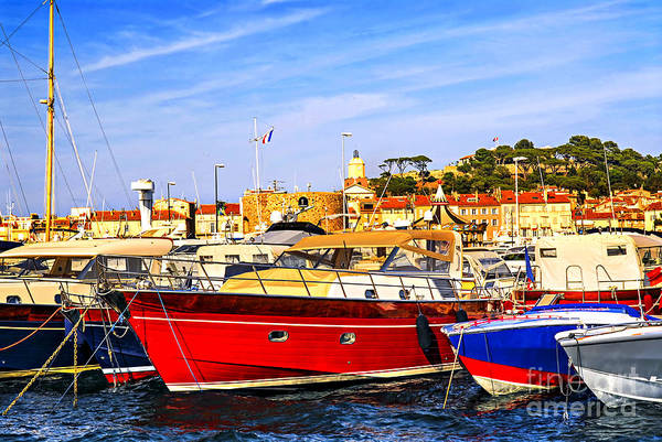Yacht Art Print featuring the photograph Boats At St.tropez by Elena Elisseeva