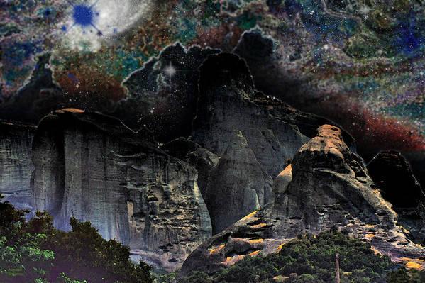 Augusta Stylianou Art Print featuring the digital art Space Landscape by Augusta Stylianou