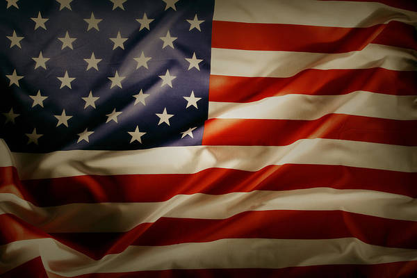 American Flag Print featuring the photograph American Flag by Les Cunliffe