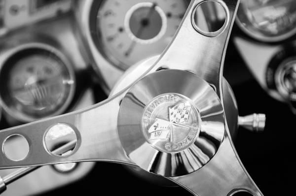1960 Chevrolet Corvette Steering Wheel Emblem Art Print featuring the photograph 1960 Chevrolet Corvette Steering Wheel Emblem by Jill Reger