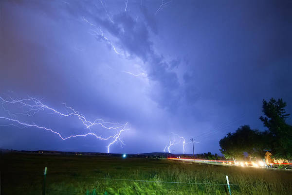 Lightning Print featuring the photograph 95th And Woodland Lightning Thunderstorm View by James BO Insogna