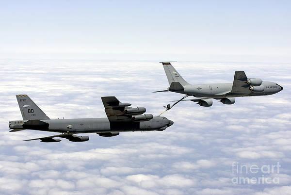 Horizontal Art Print featuring the photograph A B-52h Stratofortress Refuels by Erik Roelofs