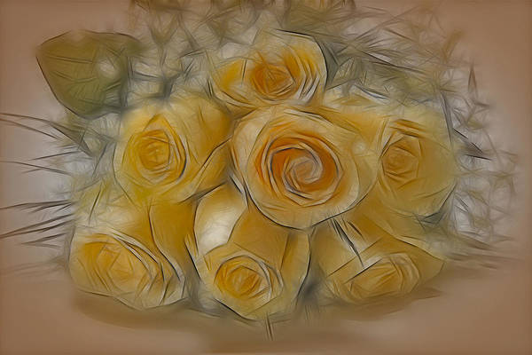 Rose Art Print featuring the photograph A Bunch Of Yellow Roses by Susan Candelario