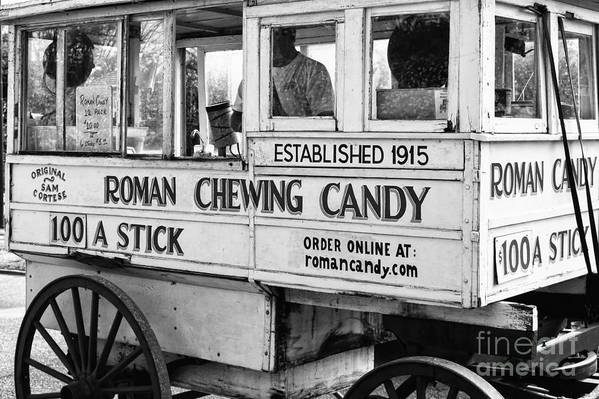 Kathleen K Parker Fine Art Art Print featuring the photograph A Dollar A Stick Roman Chewing Candy In Bw by Kathleen K Parker