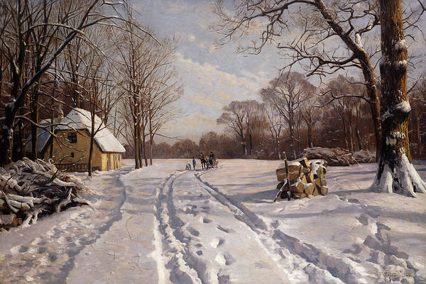 Danish Art Print featuring the painting A Sleigh Ride Through A Winter Landscape by Peder Monsted