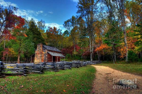 Tennessee Art Print featuring the photograph A Smoky Mountain Cabin by Mel Steinhauer