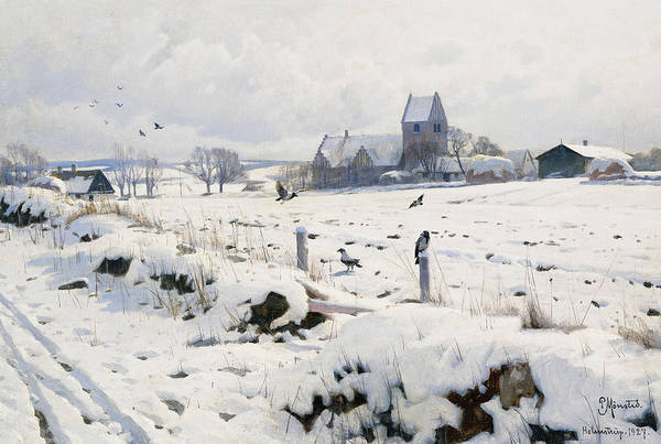 1920s Art Print featuring the painting A Winter Landscape Holmstrup by Peder Monsted