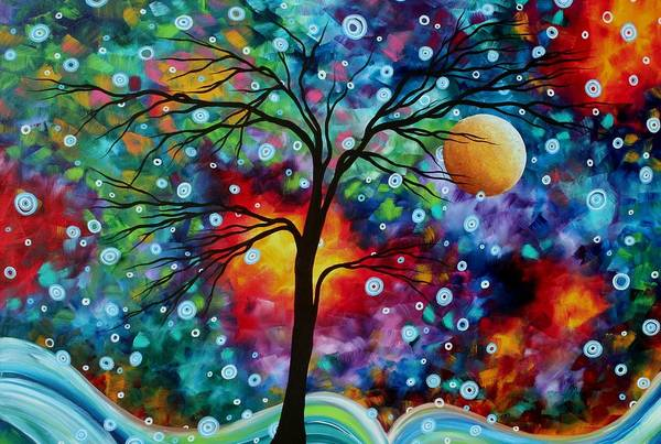 Abstract Art Print featuring the painting Abstract Art Original Colorful Landscape Painting A Moment In Time By Madart by Megan Duncanson