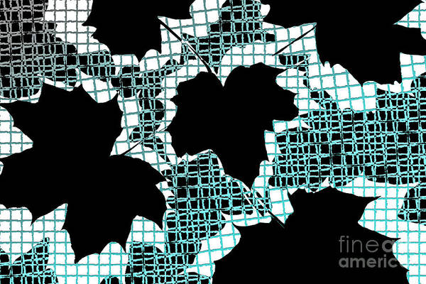 Abstract Art Print featuring the photograph Abstract Leaf Pattern - Black White Turquoise by Natalie Kinnear