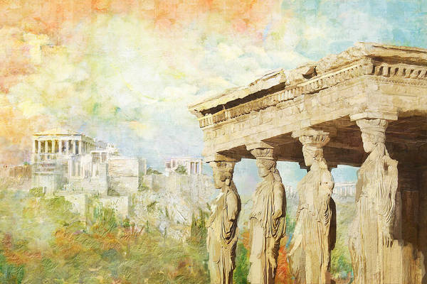 Greecetemple Of Apollo Epicurius At Bassaeacropolis Art Print featuring the painting Acropolis Of Athens by Catf