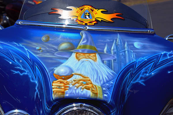 Custom Art Print featuring the photograph Airbrush Magic - Wizard Merlin On A Motorcycle by Christine Till