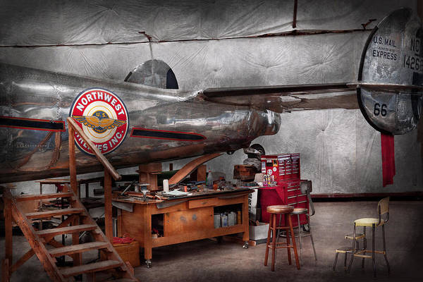 Plane Art Print featuring the photograph Airplane - The Repair Hanger by Mike Savad