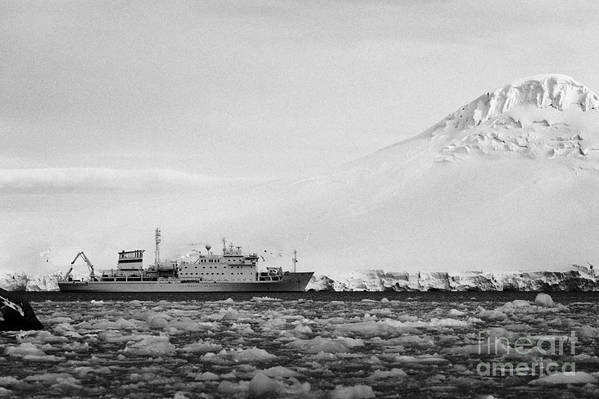 Brash Art Print featuring the photograph Akademik Sergey Vavilov Russian Research Ship In Port Lockroy As Brash Sea Ice Forming Winter Closin by Joe Fox