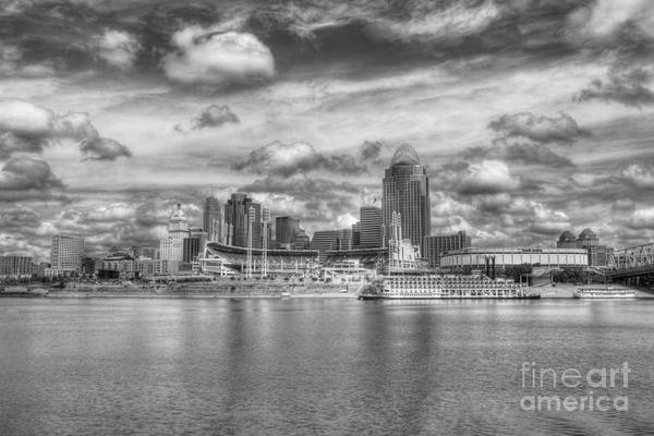 Cincinnati Art Print featuring the photograph All American City 2 Bw by Mel Steinhauer