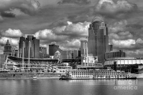 Cityscapes Art Print featuring the photograph All American City Bw by Mel Steinhauer