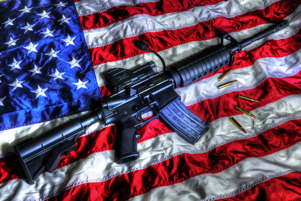 American Flag Art Print featuring the photograph American Flag With Rifle by Geoffrey Coelho
