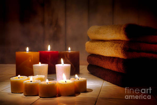 Candles Art Print featuring the photograph An Evening At The Spa by Olivier Le Queinec
