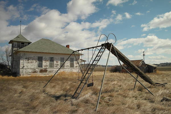 Schools Art Print featuring the photograph An Old School Near Miles City Montana by Jeff Swan