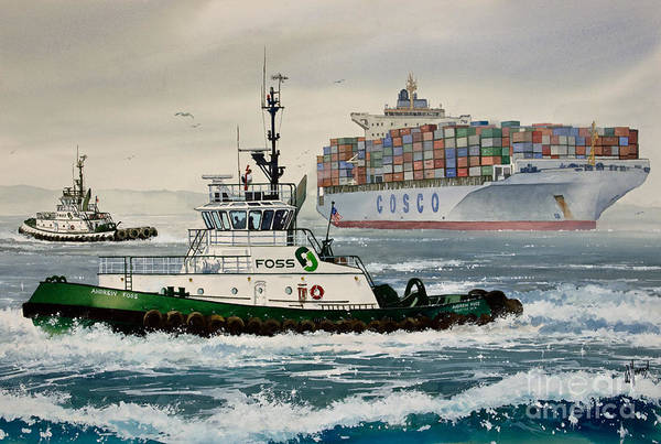 Tugs Art Print featuring the painting Andrew Foss Assisting Cosco by James Williamson