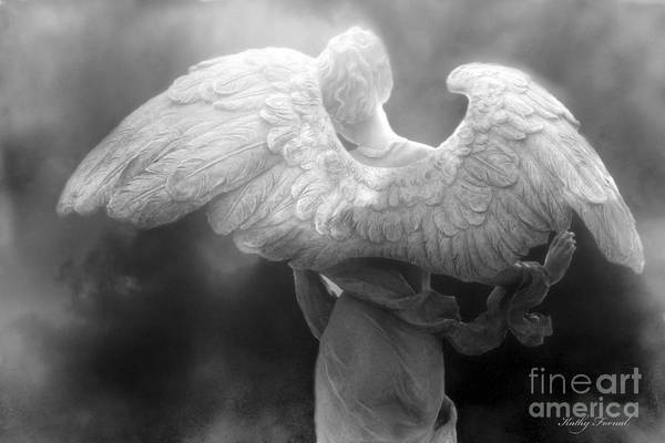 Beautiful Angel Art Art Print featuring the photograph Angel Wings - Dreamy Surreal Angel Wings Black And White Fine Art Photography by Kathy Fornal
