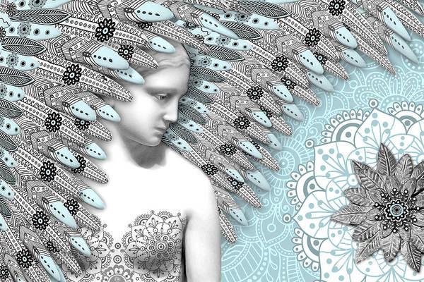 Angel Art Print featuring the digital art Angelica Hiberna - Angel Of Winter by Christopher Beikmann