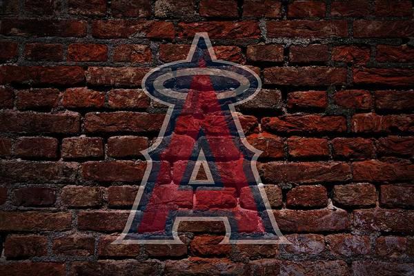 Baseball Art Print featuring the photograph Angels Baseball Graffiti On Brick by Movie Poster Prints