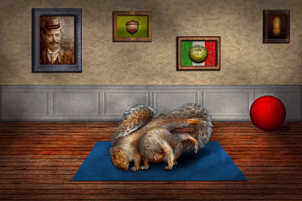 Squirrel Art Print featuring the photograph Animal - Squirrel - And Stretch Two Three Four by Mike Savad