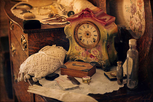 Perfumes Art Print featuring the photograph Antique Dresser by Maria Angelica Maira