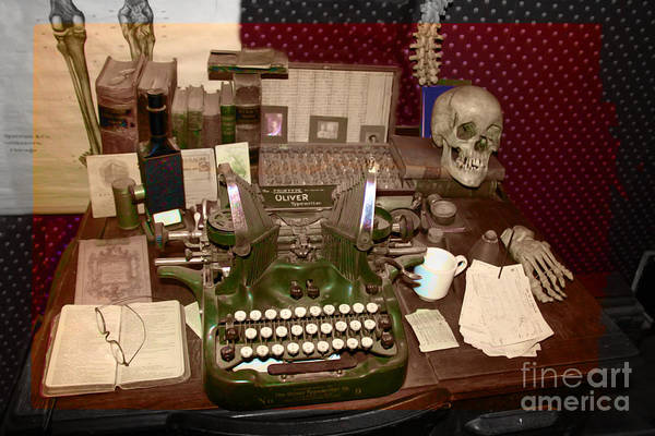 Typewriter Art Print featuring the photograph Antique Oliver Typewriter On Old West Physician Desk by Janice Rae Pariza
