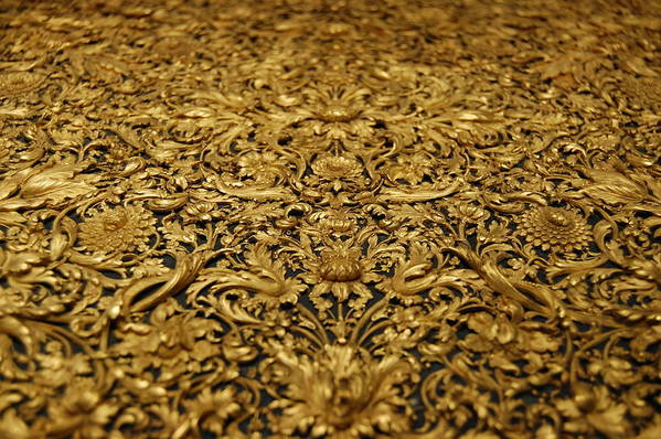 Antique treasure golden wood carving of floral patterns art print by