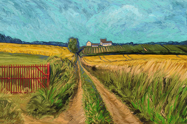 Apostelhoeve Wine Estate Wijngoed Maastricht Briex Landscape Fine Art Impressionism Art Print featuring the painting Apostelhoeve Wine Estate Maastricht by Nop Briex