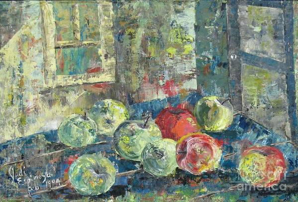 Apples Art Print featuring the painting Apples - Sold by Judith Espinoza