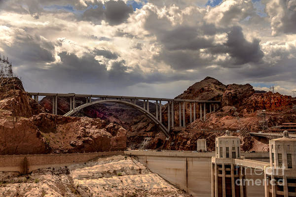 The Mike O'callaghan Art Print featuring the photograph Arch Bridge And Hoover Dam by Robert Bales