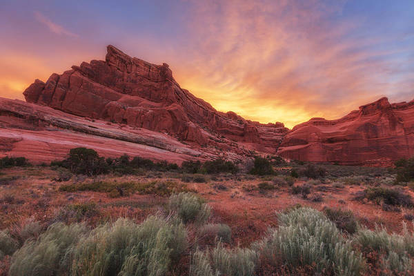 Sunset Art Print featuring the photograph Arches Fire In The Sky by Darren White