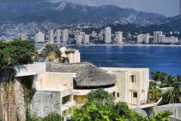 Travel Art Print featuring the photograph Architecture With Ith Acapulco Skyline by Linda Phelps