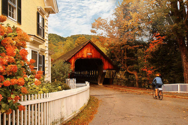 Savad Art Print featuring the photograph Architecture - Woodstock Vt - Entering Woodstock by Mike Savad