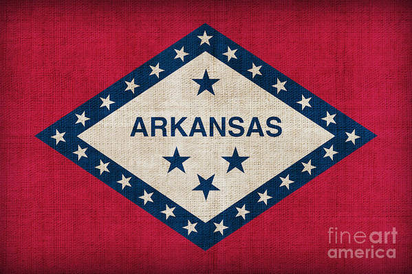 Arkansas Art Print featuring the painting Arkansas State Flag by Pixel Chimp