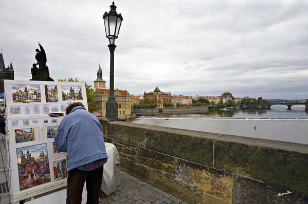 Charles Bridge Art Print featuring the photograph Artist On The Charles Bridge - Prague by Madeline Ellis