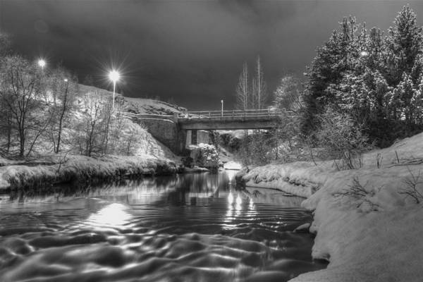 Black & White Art Print featuring the photograph At Night By River. by Erlendur Gudmundsson