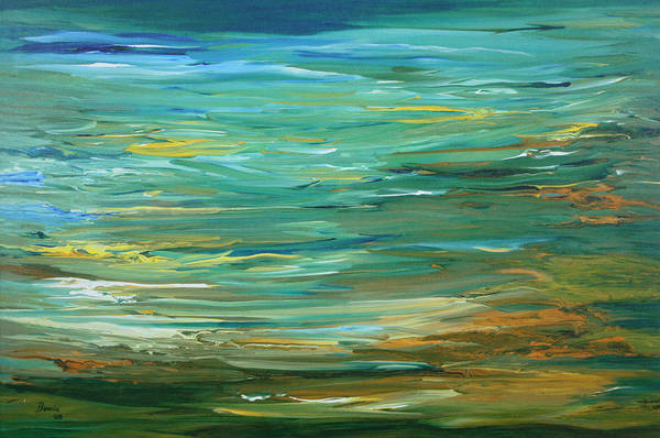 Green Art Print featuring the painting Austin Ocean by Bonnie Lanzillotta