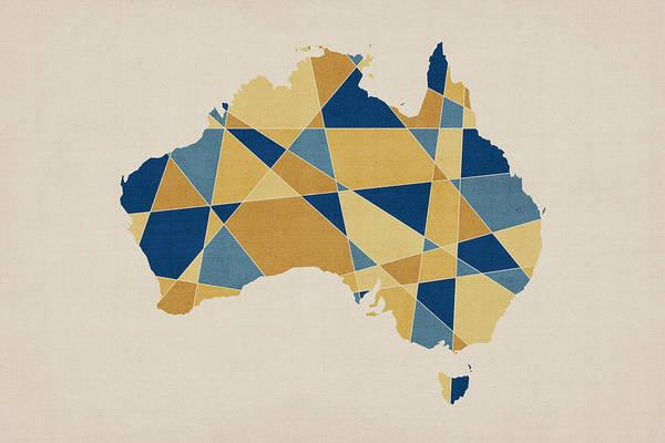 Australia Map Art Print featuring the digital art Australia Geometric Retro Map by Michael Tompsett