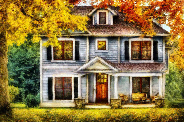 Savad Print featuring the photograph Autumn - House - Cottage by Mike Savad