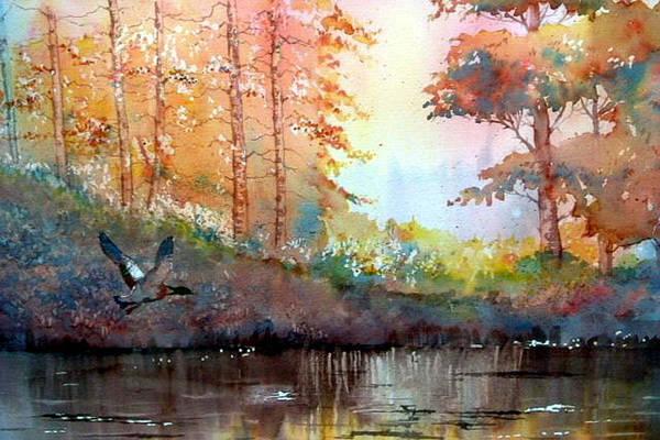 Glenn Marshall Artist Art Print featuring the painting Autumn Reflections by Glenn Marshall
