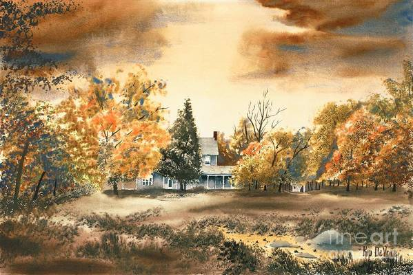 Autumn Sky No W103 Art Print featuring the painting Autumn Sky No W103 by Kip DeVore