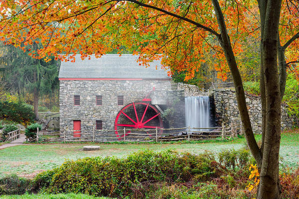 Grist Mill Art Print featuring the photograph Auutmn At The Grist Mill by Michael Blanchette