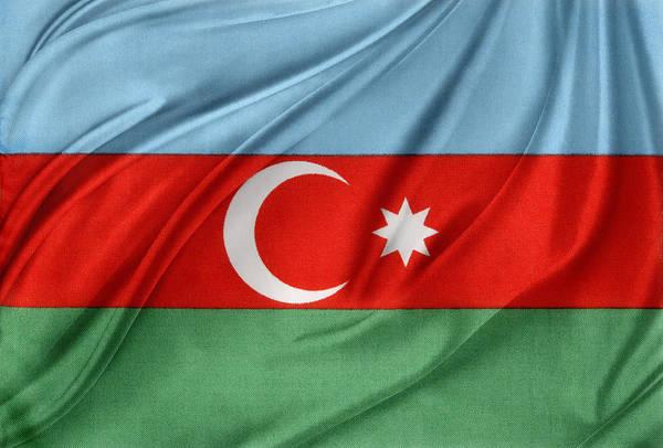 Banner Art Print featuring the photograph Azerbaijan Flag by Les Cunliffe