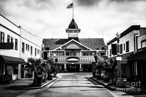 America Art Print featuring the photograph Balboa California Main Street Black And White Picture by Paul Velgos