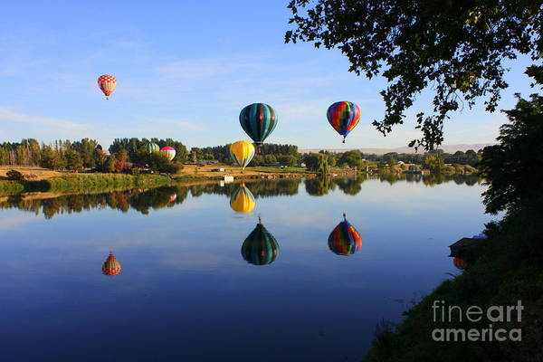Hot Air Balloon Art Print featuring the photograph Balloons Heading East by Carol Groenen