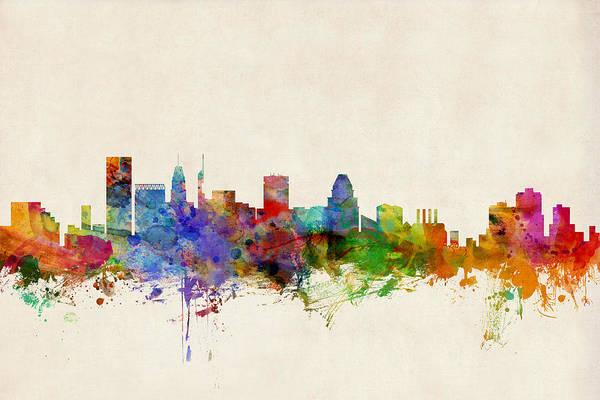 Watercolour Art Print featuring the digital art Baltimore Maryland Skyline by Michael Tompsett